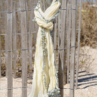 Cream And Grey Pom Pom Scarf - Unique Vintage - Bridesmaid & Wedding Dresses