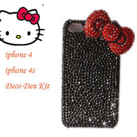 Cute Hello Kitty  Red Bow Cabochon diy phone case decoden kit for iphone 4 / HTC or Samsung ( Case is not included)