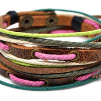 Adjustable Bracelet Cuff made of Brown Leather Multicolour Ropes and metal Woven Snapper  224s