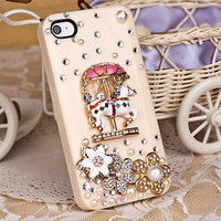 Fancy Crystal Flower and Horse iPhone 4 4s case Cover with Pink Gift Case Packing