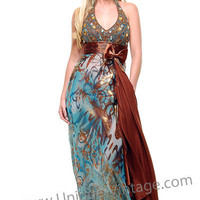 Aqua and Brown Satin & Beaded Printed Halter Gown - 4 to 16 - Unique Vintage - Bridesmaid & Wedding Dresses