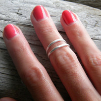 Sterling silver knuckle ring, stacking rings - hammered, textured knuckle rings