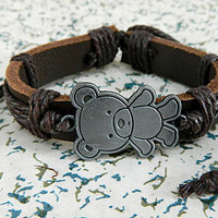metal Panda  Adjustable bracelet antique silver bracelet Cowhide Leather hipster jewelry leather bracelet wooden  bead and hollowed tube