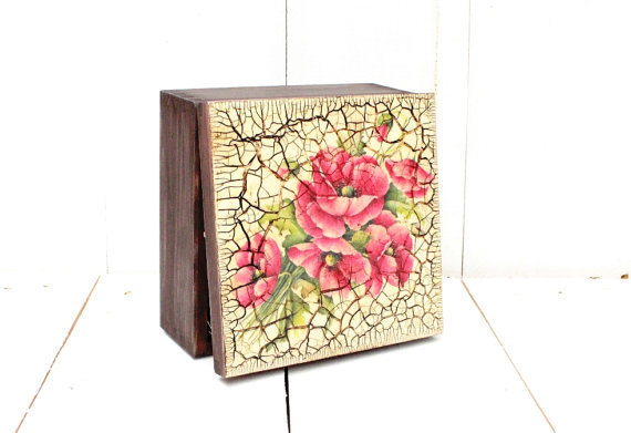 Tea Box Decoupage Kitchen Red Decor Poppy From Selenartedecoupage