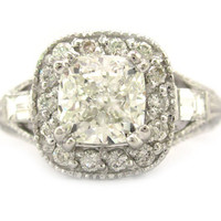 Cushion cut diamond engagement ring antique 184ctw 18k by KNRINC
