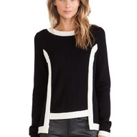High Low Contrast Pullover in Black & White