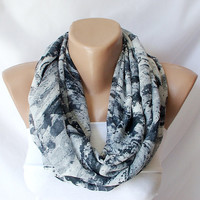 Grey and Black  tones Dancing.....Infinity Loop Scarf ..Chiffon... Scarf.