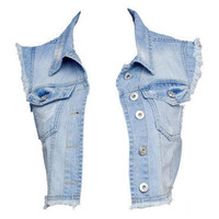 Bleached Blue Distressed Cropped Denim Waistcoat - Clothing - desireclothing.co.uk