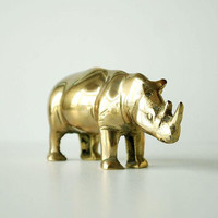 Vintage Brass Rhinoceros Sculpture Animal Figurine