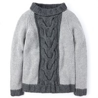 Hand Knit Cable Sweater (Grey Melange)