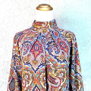 Vintage late 80s early 90s Paisley Blouse w Turtle Neck, Long Sleeved Michelle Stewart Designer Shirt, Small S XS, Prince meets Jimi Hendrix