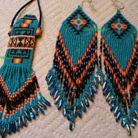 Native American Inspired Amulet bag and earring set