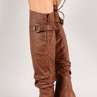 Lace Up Buckled Back Collar Slouchy Thigh High Boot