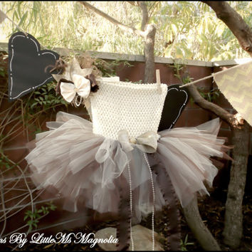 """Ivory and Brown  Crochet Top Tutu and Headband Set """" Autumn Sunshine"""" For Girls, Infants and Toddlers"""