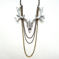 15% OFF the ENTIRE SHOP: Rustic White Deer Skull Necklace
