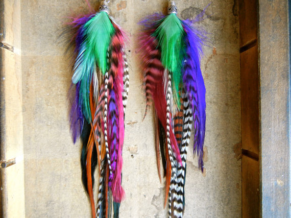 15% OFF the ENTIRE SHOP: Mardi Gras Extra Long Feather Earrings