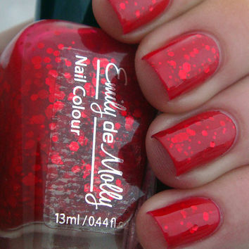 "Red jelly nail polish - ""A beautiful mistake"" indie custom glitter nail polish"