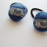 Ponytail holders made of blue upcycled felted wool sweater, puffy, round, with vintage lace, handsewn with blue yarn Set of 2