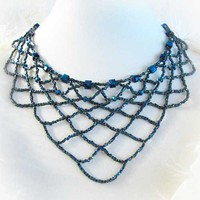 Glass Bead Crystal Necklace 19 Inch Princess Length Bib Blue