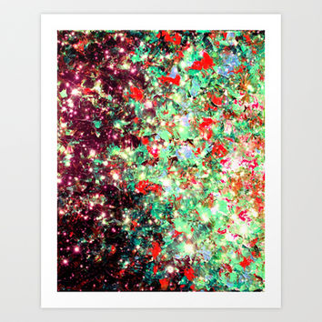 MISTLETOE NEBULA Colorful Festive Christmas Red Green Sparkle Galaxy Ombre Xmas Holidaze Abstract  Art Print by EbiEmporium
