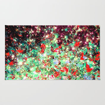 MISTLETOE NEBULA Colorful Festive Christmas Red Green Sparkle Galaxy Ombre Xmas Holidaze Abstract  Area & Throw Rug by EbiEmporium