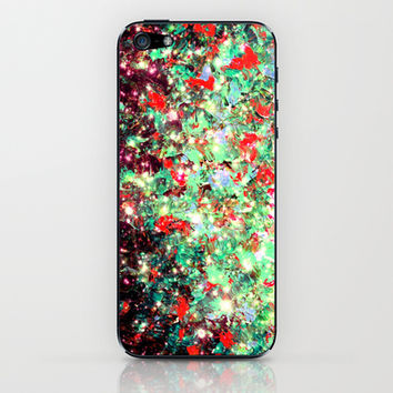 MISTLETOE NEBULA Colorful Festive Christmas Red Green Sparkle Galaxy Ombre Xmas Holidaze Abstract  iPhone & iPod Skin by EbiEmporium
