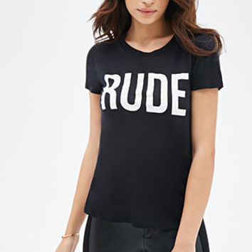 FOREVER 21 Rude Graphic Tee Black/White