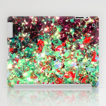 MISTLETOE NEBULA Colorful Festive Christmas Red Green Sparkle Galaxy Ombre Xmas Holidaze Abstract  iPad Case by EbiEmporium