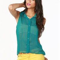 A'GACI Sleeveless Button Front Shirt - New Arrivals