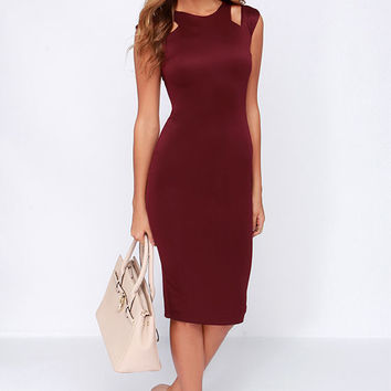 LULUS Exclusive More and Amore Burgundy Midi Dress