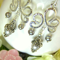 Victorian silver pearl chandelier earrings