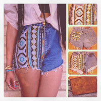 Tribal aztec print pocket vintage high waist 80&#x27;s cut off denim