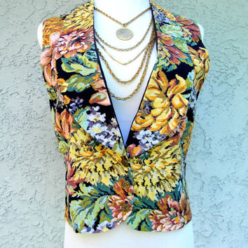 Pretty in Pink Vest - Vintage 80s Floral Vest w Gold Buttons - John Hughs Teen Movie Eighties Party Costume - s small