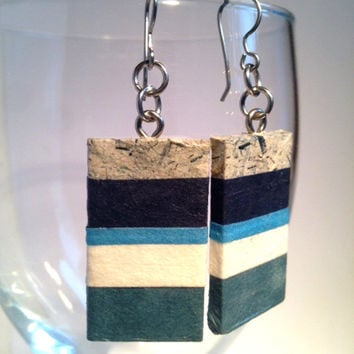 Blue Striped Hanji Paper Earrings OOAK Handmade Striped Dangle Earrings Hypoallergenic hooks Lightweight Paper Jewelry
