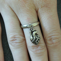 Tiny Anatomical Heart Charm Ring in Solid White Bronze 127