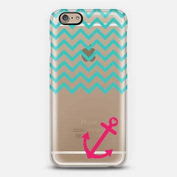 Teal and Hot Pink Chevron Nautical Transparent iPhone 6 case by Organic Saturation | Casetify