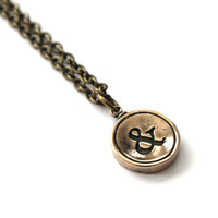 Ampersand Necklace - Bronze Initial Typewriter Key Charm Necklace - Gwen Delicious Jewelry Design