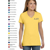 Personalized Embroidered GREEK Monograms Hanes Ladies' 4.5 oz., 100% Ringspun Cotton nano-T® V-Neck T-Shirt by Arts and Soles