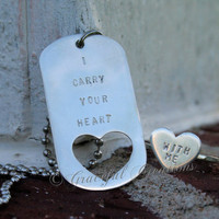 I carry your heart dog tag and ring set in Sterling Silver
