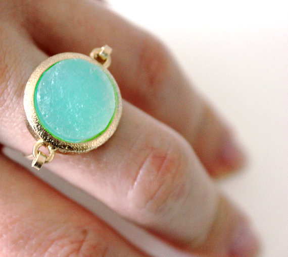 Druzy mint ring 14kt gold filled - custom size