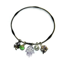 Good Luck Charm Bangle, Elephant, Four Leaf Clover, Hamsa Charm, Handmade