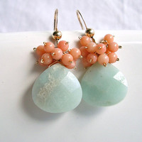 Peach Coral Amazonite Earrings, Gold Filled, Light Blue, Aqua, Pink