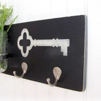 Shabby Chic Black Key RackCoat Hanger with Ball by cellardesigns