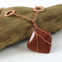 Wire Wrapped Goldstone and Copper Necklace