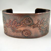 Etched Copper Cuff Bracelet Wide