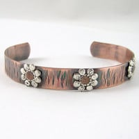 Copper Cuff Bracelet with Riveted Flowers