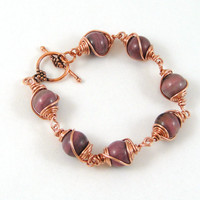 Wire Wrapped Rhodonite Bracelet Gemstone Copper