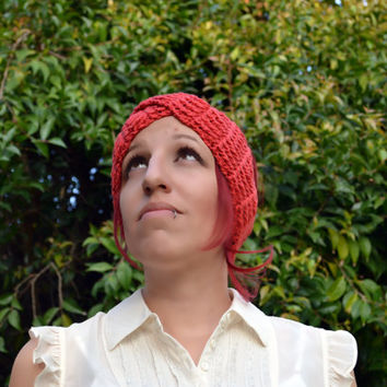 Crochet turban in coral, hairband, headband, headwrap, ear warmer