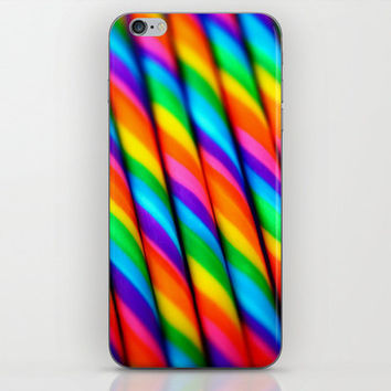 Cell Phone Skin, Rainbow Candy Canes Photo, Rainbow Phone Skin, Striped Phone Skin, Colorful Phone Skin, Iphone 3 4 5 6 6+, iPod Touch,