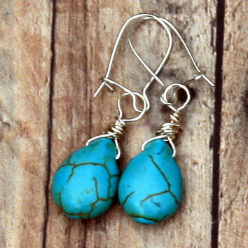 Tribal Inspired Turquoise Magnesite Drop Earrings with Sterling Earring Wire